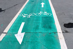 Dedicated lanes on the road for bicycles. Dedicated lanes on the road specifically for bicycles Royalty Free Stock Photography