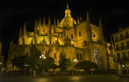 Dedicated to the Virgin Mary and constructed during the 16th century, the Cathedral of Segovia, Spain sits in the main square of t Royalty Free Stock Images