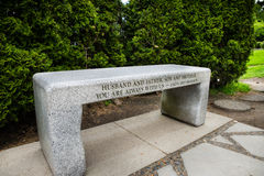 Dedication on bench for Bruce and Brandon Lee. Bruce Lee and son Brandon Lee grave site in Seattle Washington stock photography