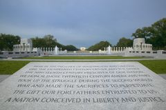 Dedication to National World War II Memorial ,Washington D.C. Stock Image