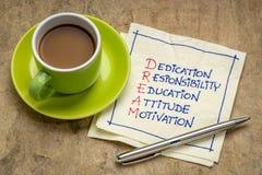 Dedikation ansvar, utbildningsbegrepp royaltyfria foton