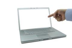 Dedo acentuado de la computadora portátil imagenes de archivo