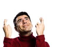 Dedo caucásico del hombre cruzado Imagen de archivo libre de regalías
