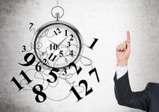 Dedo da gestão de tempo acima Imagens de Stock Royalty Free