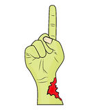 Dedo da mão do zombi acima do vetor do Dia das Bruxas do gesto - ilustração realística dos desenhos animados Imagens de Stock Royalty Free