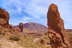 Dedo da rocha do deus no vulcão Teide na ilha de Tenerife - canário imagens de stock royalty free