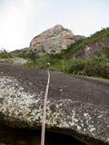 从Dedo de deus山的Abseiling在巴西 库存图片
