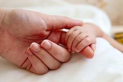 Dedo de la madre de la explotación agrícola de la mano del bebé Fotografía de archivo