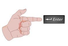 Dedo direcional que mostra a tecla enter Fotografia de Stock