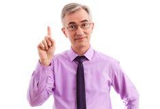 Dedo do homem de negócio acima Fotografia de Stock