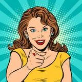 Dedo do ponto da mulher em você gesto ilustração stock