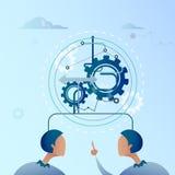 Dedo do ponto do homem de negócio dois no homem de negócios Brainstorming Process da roda da roda denteada ilustração royalty free