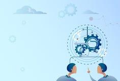 Dedo do ponto do homem de negócio dois no homem de negócios Brainstorming Process da roda da roda denteada ilustração stock