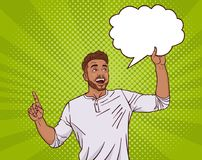 Dedo do ponto do homem da raça da mistura até a nuvem vazia do bate-papo sobre Dot Pin Up Style Background ilustração royalty free