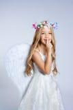 Dedo do sono da menina das crianças do anjo Imagens de Stock Royalty Free