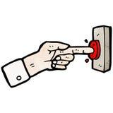 dedo dos desenhos animados que pressiona o botão Imagens de Stock