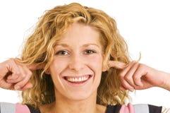 Dedo en el ears1 Fotografía de archivo