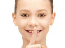 Dedo en los labios Imagen de archivo libre de regalías