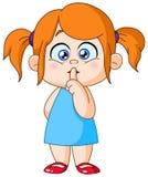 Dedo en muchacha de los labios stock de ilustración