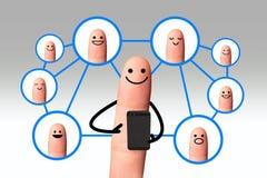 Dedo feliz, conceito social da rede, isolado com pancadinha do grampeamento Fotografia de Stock