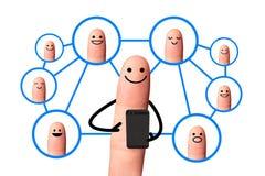 Dedo feliz, conceito social da rede, isolado com pancadinha do grampeamento Foto de Stock Royalty Free