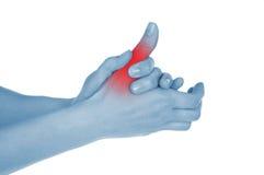 Dedo gordo dolorido, mostrado rojo Foto de archivo libre de regalías