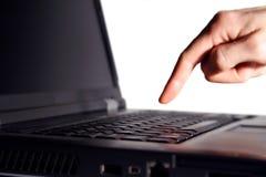 Dedo no teclado imagens de stock royalty free