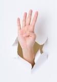 Dedo quatro que quebra através da parede de papel Imagem de Stock