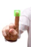 Dedo que presiona el botón de la pregunta. Imagenes de archivo