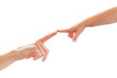 Dedo tocante da matriz e da criança no dedo Imagens de Stock