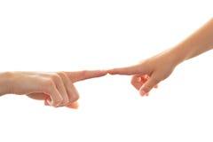 Dedo tocante da matriz e da criança no dedo Fotos de Stock