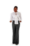 Dedos de agarramento africanos da mulher de negócio Imagens de Stock