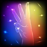 Dedos de néon da mão três Imagens de Stock Royalty Free