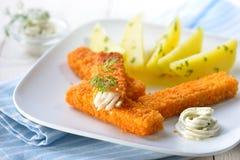 Dedos de peixes com batatas Foto de Stock