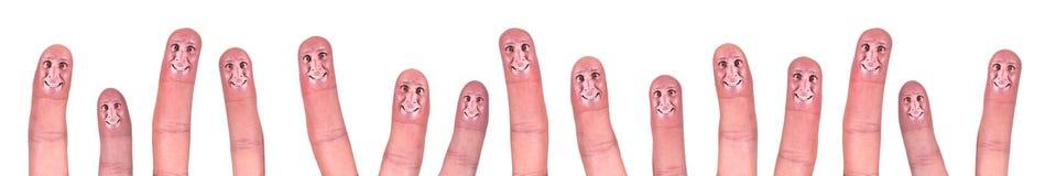 Dedos de sorriso felizes do conceito dos trabalhos de equipa do negócio Imagem de Stock