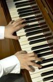 Dedos de um professor de piano Fotos de Stock Royalty Free