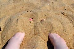 Dedos do pé na areia Foto de Stock Royalty Free