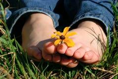 Dedos do pé que prendem a flor Foto de Stock Royalty Free