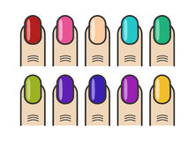 Dedos do tratamento de mãos e ícones coloridos do vetor dos pregos ajustados ilustração royalty free