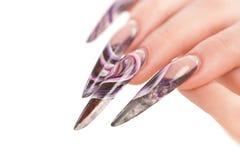 Dedos humanos com a unha bonita imagem de stock