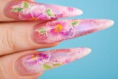 Dedos humanos con la uña hermosa foto de archivo