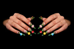Dedos humanos con la uña larga y m hermoso Imágenes de archivo libres de regalías