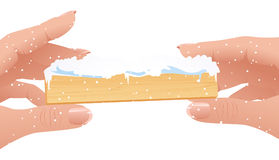 Dedos humanos que prendem o frame do Natal Foto de Stock Royalty Free