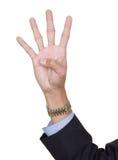 Dedos número quatro que conta Imagem de Stock Royalty Free