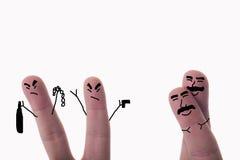 Dedos pintados caracterizando um par alegre Foto de Stock Royalty Free