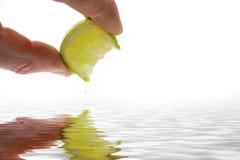 Dedos que exprimen el limón Imágenes de archivo libres de regalías