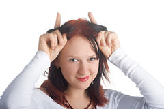 Dedos sobre su cabeza fotos de archivo libres de regalías