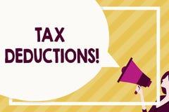 Deducciones fiscales de la escritura del texto de la escritura La cantidad o el coste del significado del concepto que se pueden  ilustración del vector