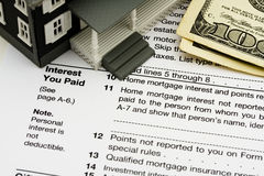 Deduct mortgage interest on taxes stock photography