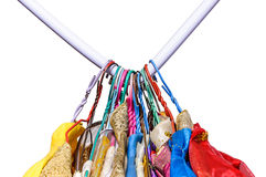 Deduct rail. Clothes on hanger deduct rail, isolated on white background stock images